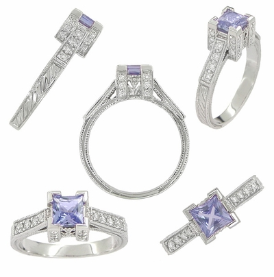 Art Deco 3/4 Carat Princess Cut Tanzanite and Diamond Engagement Ring in Platinum - December Birthstone - Item R660TA - Image 1