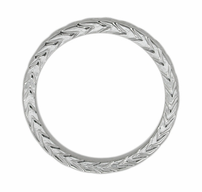 Art Deco 3mm Chevron Carved Wheat Pattern Wedding Band - 14K White Gold - Size 6.5 - Item R622 - Image 1