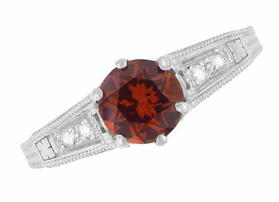 Art Deco Almandine Garnet and Diamond Filigree Artisan Engagement Ring in 14 Karat White Gold - Item R158AG - Image 3
