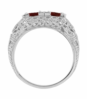 Art Deco Almandite Garnet Duo Filigree Ring in 14 Karat White Gold - Item R336G - Image 1