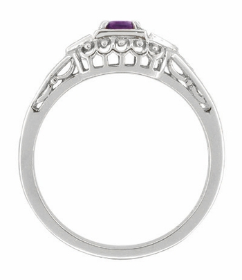 Art Deco Amethyst and Diamond Filigree Engagement Ring in 14 Karat White Gold - Item R228WAM - Image 1