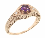 Art Deco Amethyst and Diamond Filigree Engraved Engagement Ring in 14 Karat Rose Gold