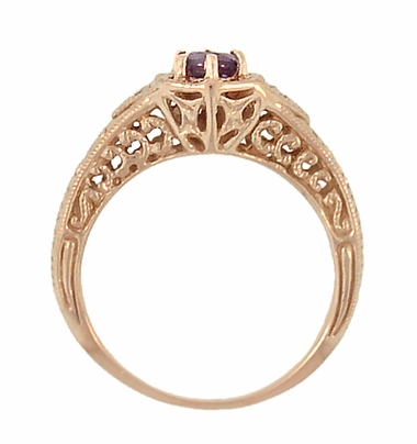 Art Deco Amethyst and Diamond Filigree Engraved Engagement Ring in 14 Karat Rose Gold - Item R407RAM - Image 2