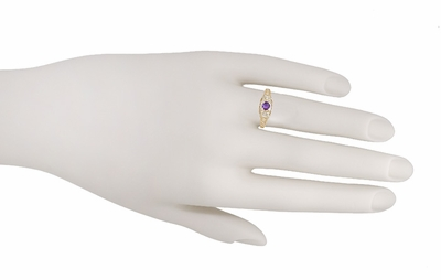 Art Deco Amethyst and Diamond Filigree Promise Ring in 14 Karat Yellow Gold - Item R228YAM - Image 2