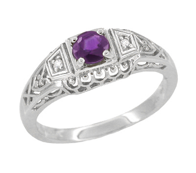 Art Deco Amethyst and Diamond Filigree Engagement Ring in 14 Karat White Gold