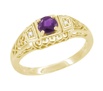 Art Deco Amethyst and Diamond Filigree Promise Ring in 14 Karat Yellow Gold