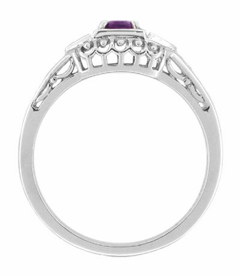 Art Deco Amethyst and Diamonds Filigree Antique Style Promise Ring in Sterling Silver - Item SSR228A - Image 1