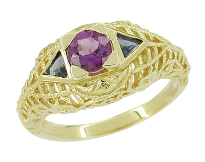 Art Deco Amethyst and Sapphire Filigree Ring in 14 Karat Yellow Gold