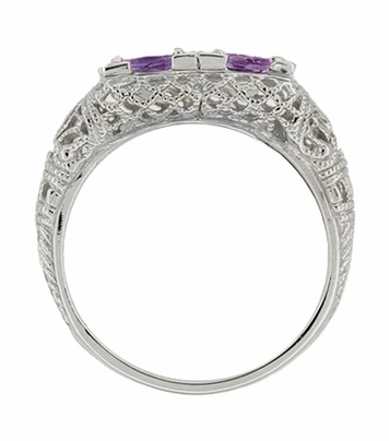 Art Deco Amethyst Duo Filigree Ring in 14 Karat White Gold - Item R336A - Image 1