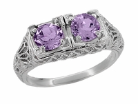 Art Deco Amethyst Duo Filigree Ring in Sterling Silver