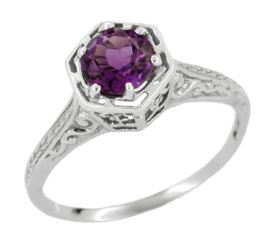 Art Deco Amethyst Engraved Filigree Engagement Ring in 14 Karat White Gold