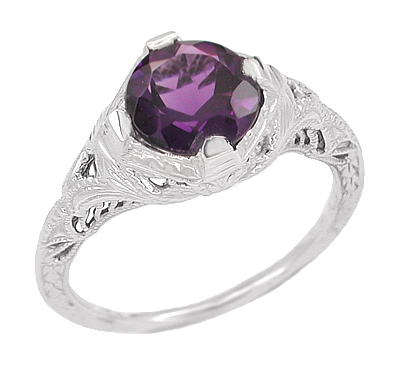Art Deco Amethyst Promise Ring in Sterling Silver with Engraved Filigree
