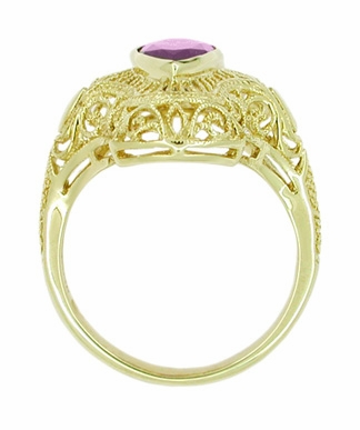 Art Deco Amethyst Filigree Cocktail Ring in 14 Karat Gold - Item RV125A - Image 2