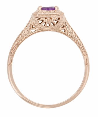 Art Deco Amethyst Filigree Scrolls Engraved 14 Karat Rose Gold Engagement Ring - Item R183RAM - Image 1