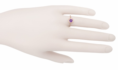 Art Deco Amethyst Filigree Scrolls Engraved 14 Karat Rose Gold Engagement Ring - Item R183RAM - Image 3