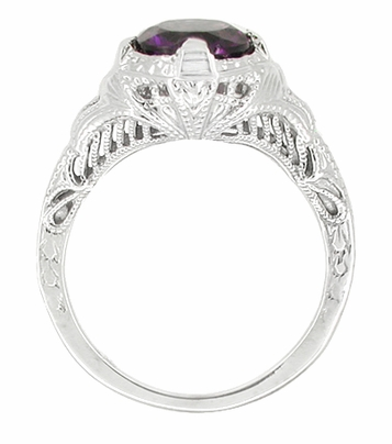 Art Deco Amethyst Promise Ring in Sterling Silver with Engraved Filigree - Item SSR161AM - Image 1