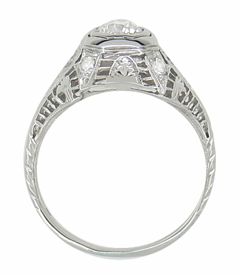 Art Deco Antique Diamond Filigree Engagement Ring in 18 Karat White Gold - Item R866 - Image 2