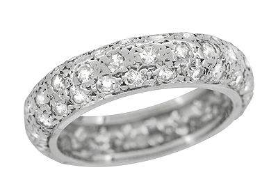 Art Deco Antique Diamonds Wedding Band in Platinum - Size 6 3/4