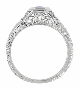 Art Deco Antique Inspired Filigree Sapphire and Diamond Engagement Ring in 14 Karat White Gold   Carved Low Profile Ring - Item R646W14S - Image 3