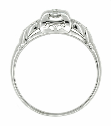 Art Deco Antique Leaves Filigree Diamond Illusion Engagement Ring in 14K White Gold - Item R217 - Image 1
