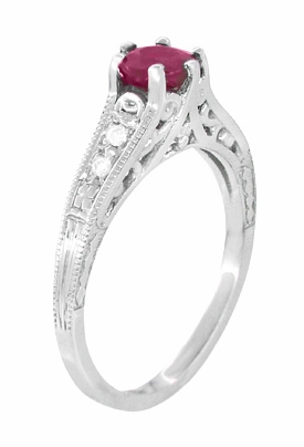 Art Deco Vintage Style Ruby and Diamond Filigree Engagement Ring in 14 Karat White Gold - Item R191 - Image 2