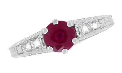 Art Deco Vintage Style Ruby and Diamond Filigree Engagement Ring in 14 Karat White Gold - Item R191 - Image 4