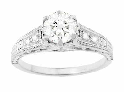 Art Deco Antique Style 3/4 Carat Diamond Filigree Engagement Ring in 14 Karat White Gold - Item R643 - Image 3