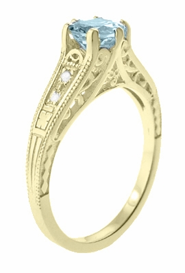 Art Deco Antique Style Aquamarine and Diamond Filigree Engagement Ring in 14 Karat Yellow Gold - Item R158YA - Image 2