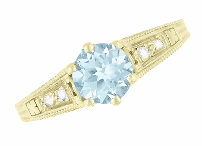 Art Deco Antique Style Aquamarine and Diamond Filigree Engagement Ring in 14 Karat Yellow Gold - Item R158YA - Image 5