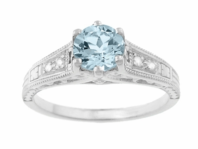 Art Deco Antique Style Filigree Aquamarine and Diamond Engagement Ring in 14 Karat White Gold - Item R158A - Image 4