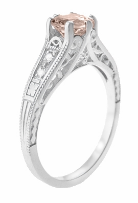 Art Deco Antique Style Morganite and Diamond Filigree Engagement Ring in 14 Karat White Gold - Item R158WM - Image 2
