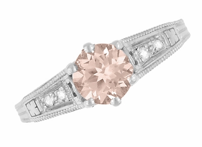 Art Deco Antique Style Morganite and Diamond Filigree Engagement Ring in 14 Karat White Gold - Item R158WM - Image 5