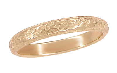 Art Deco Antique Style Wedding Flowers Band in 14 Karat Rose ( Pink ) Gold - 2.9mm