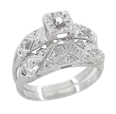 Art Deco Antique Wedding Ring and Clover Engagement Ring Set in 14 Karat White Gold