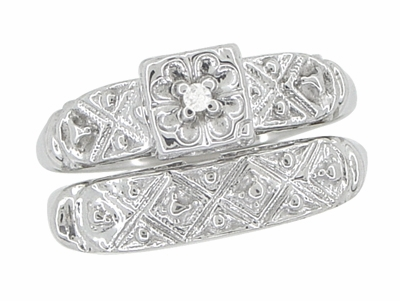Art Deco Antique Wedding Ring and Clover Engagement Ring Set in 14 Karat White Gold - Item R744 - Image 1