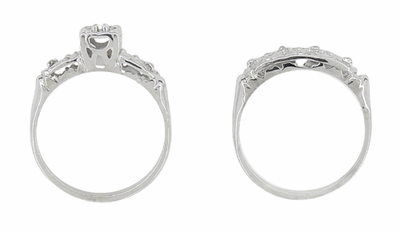 Art Deco Antique Wedding Ring and Clover Engagement Ring Set in 14 Karat White Gold - Item R744 - Image 2