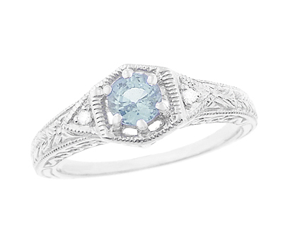 Art Deco Aquamarine Filigree Engraved Engagement Ring in 14 Karat White Gold with Side Diamonds
