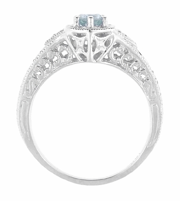 Art Deco Aquamarine and Diamond Filigree Engraved Engagement Ring in Platinum - Item R149PA - Image 1
