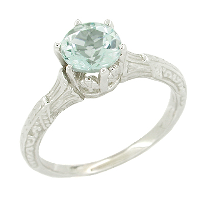 Art Deco Aquamarine Solitaire Filigree Ring in 14 Karat White Gold