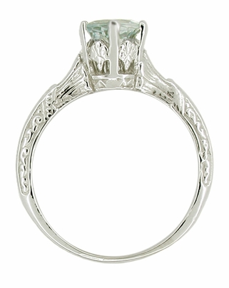 Art Deco Aquamarine Solitaire Filigree Ring in 14 Karat White Gold - Item R331 - Image 1