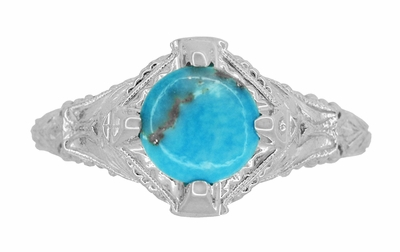 Art Deco Arizona Turquoise Engraved Filigree Ring in Sterling Silver - Item SSR161TQ - Image 3