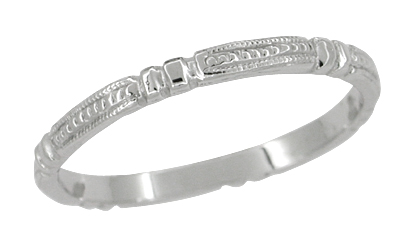 Art Deco Beads and Bars Wedding Band in 14 Karat White Gold