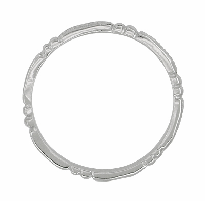 Art Deco Beads and Bars Wedding Band in 14 Karat White Gold - Item R650 - Image 1