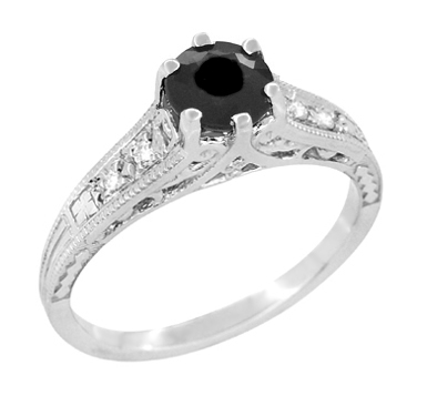 Art Deco Filigree 1.25 Carat Black Diamond Engagement Ring in 14 Karat White Gold