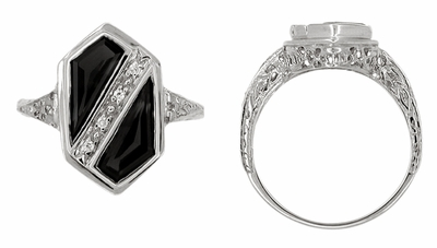 Art Deco Black Onyx and Diamond Shield Filigree Ring in 14 Karat White Gold - Item R1145 - Image 1