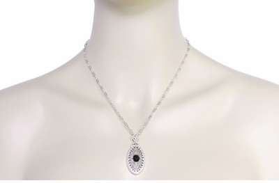 Art Deco Black Onyx Filigree Oval Pendant Necklace in Sterling Silver - Item N148on - Image 3
