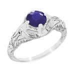 Art Deco Blue Iolite Engraved Filigree Engagement Ring in 14 Karat White Gold