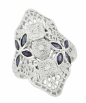 Art Deco Blue Sapphire and Cubic Zirconia Filigree Cocktail Ring in Sterling Silver