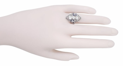 Art Deco Blue Sapphire and Cubic Zirconia Filigree Cocktail Ring in Sterling Silver - Item R1124 - Image 2
