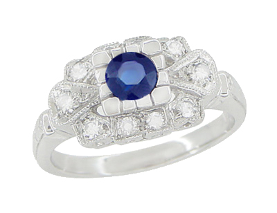 Art Deco Blue Sapphire and Diamonds Engagement Ring in 18 Karat White Gold